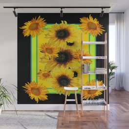 Black Sunflowers Pattern  Lime Color Floral Art Wall Mural