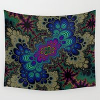 novelty Wall Tapestries featuring Peacock Fractal by Moody Muse