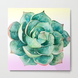 Luxurious Watercolor Succulent On Lilac Cream Background Metal Print