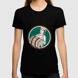 Female Bartender Carrying Keg Circle Retro T-shirt