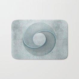 Geometrical Line Art Circle Distressed Teal Bath Mat