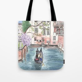 """Gondola in Venice"" Watercolor and Ink Illustration Tote Bag"