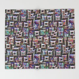 Colorful 3D Abstract Structure Throw Blanket