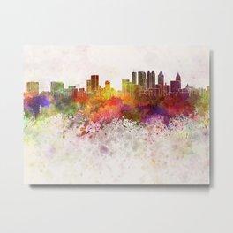 Atlanta skyline in watercolor background Metal Print