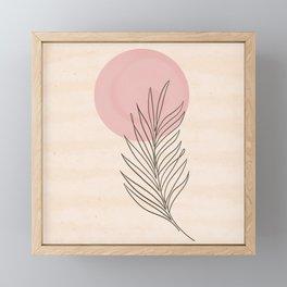 Pink Sun & Palm Feather Framed Mini Art Print