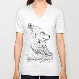 Mom and Baby Grizzly Bear Unisex V-Neck