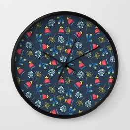 Blue Red Yellow Scattered Florals Wall Clock