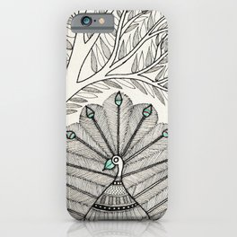 Madhubani Peacock and Tree iPhone Case