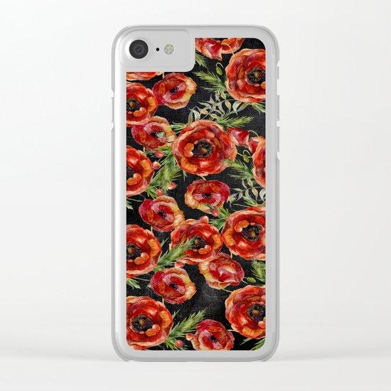 Poppy Pattern On Chalkboard Clear iPhone Case