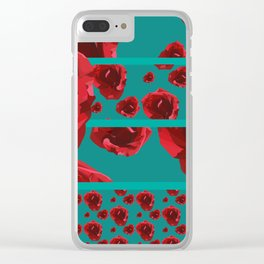 Lowpoly Rose - Teal and red Clear iPhone Case