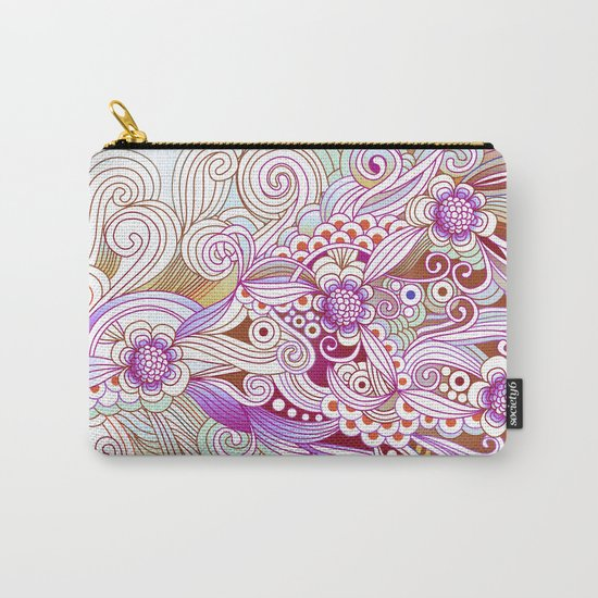 zentangle inspired Flower fire doodle, purple colorway Carry-All Pouch