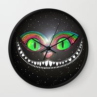cheshire cat Wall Clocks featuring Cheshire Cat by Luna Portnoi