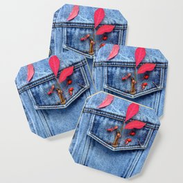 Jeans jacket with red leaves Coaster