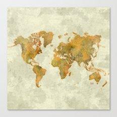 World Map Yellow Vintage Canvas Print