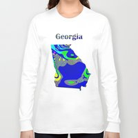 georgia Long Sleeve T-shirts featuring Georgia Map by Roger Wedegis