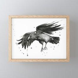 Raven Watercolor Framed Mini Art Print