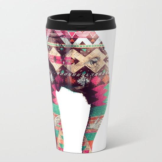 Whimsical Aztec Elephant Pink Turquoise Geometric Metal Travel Mug