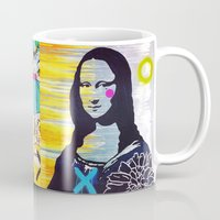 mona lisa Mugs featuring Mona Lisa by Paola Gonzalez