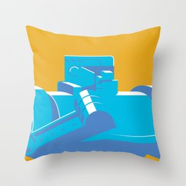 Blue Bomber Throw Pillow