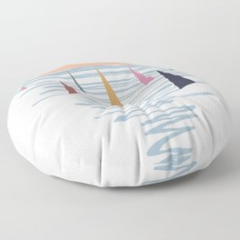 Minimal sunset with sails Floor Pillow