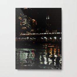 Chicago El and River at Night Metal Print