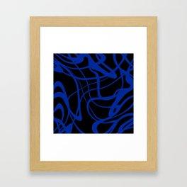 Blue lines on black background Framed Art Print