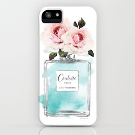 Perfume, watercolor, perfume bottle, with flowers, Teal, Silver, peonies, Fashion illustration, iPhone Case