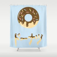 donut Shower Curtains featuring DONUT. by Dani Does Art