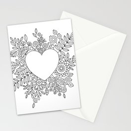 Flourishing Heart Adult Coloring Illustration, Heart and Flowers Wreath Stationery Cards