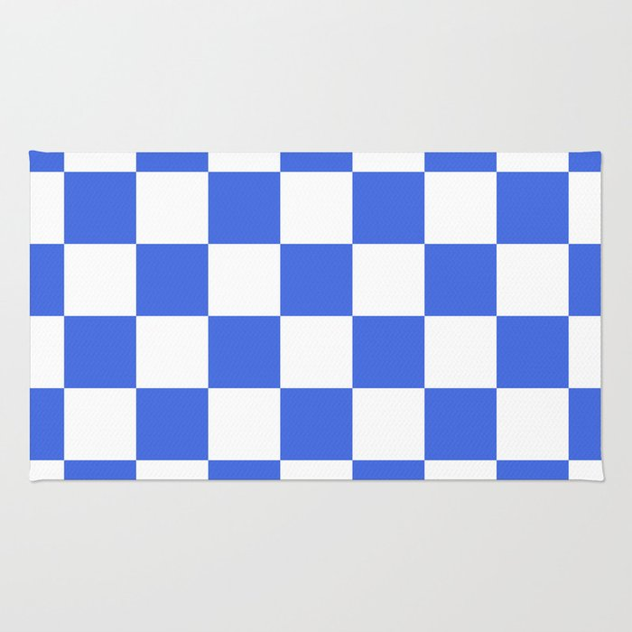royal blue rug. Checkered - White And Royal Blue Rug I