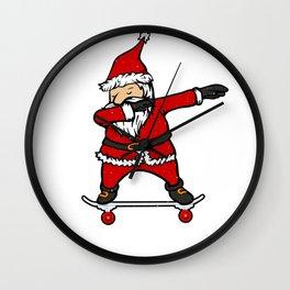 Skateboarding  Santa Claus on Skateboard Gift for Skater  Wall Clock