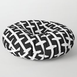 Geometric Pattern 207 (black white) Floor Pillow