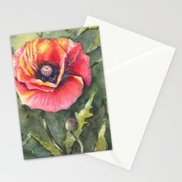 Poppy Single Watercolor Stationery Cards