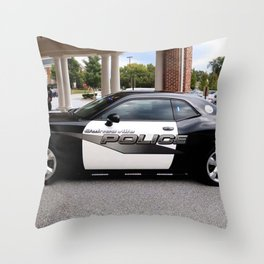 Gainesville Florida Police Challenger Black and White Patrol Car Throw Pillow