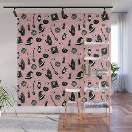 Witchy Print on Pink Wall Mural