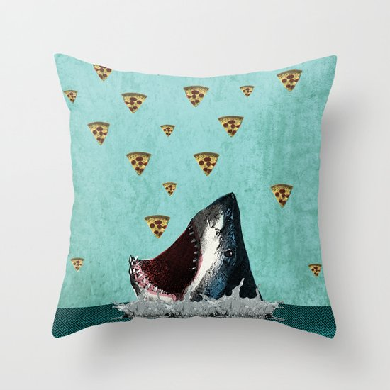 Pizza Shark Print Throw Pillow