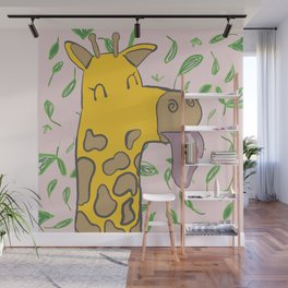 Giraffe with Tongue Out Wall Mural