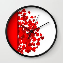 Hearts falling out of an envelope Wall Clock