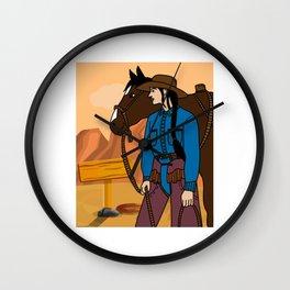 Retro Wild West Cowboys Rodeo Wall Clock