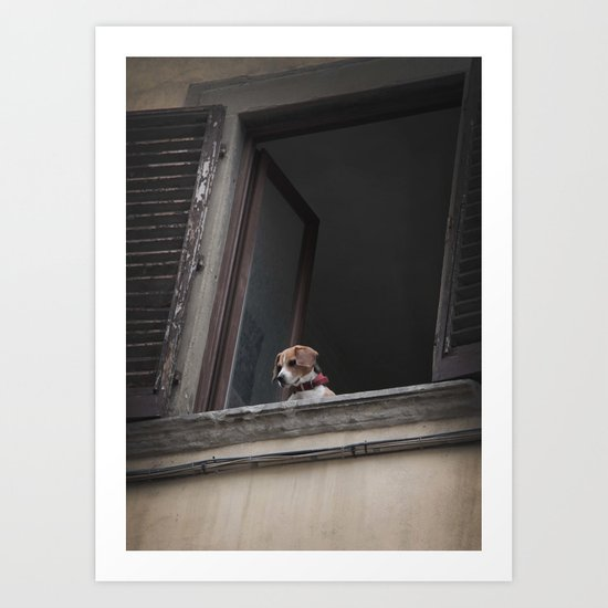 take me with you _ Beagle in a window Art Print