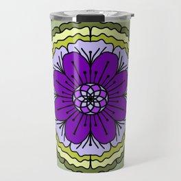 Mandala-purple and green Travel Mug
