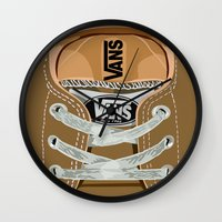 vans Wall Clocks featuring Cute brown Vans all star baby shoes apple iPhone 4 4s 5 5s 5c, ipod, ipad, pillow case and tshirt by Three Second