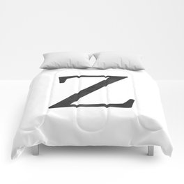 Letter Z Initial Monogram Black and White Comforters
