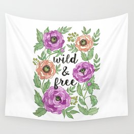 Wild & Free Watercolor Illustration Wall Tapestry
