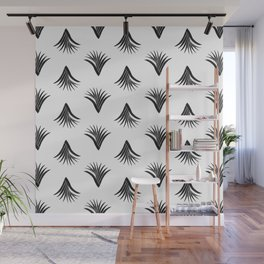 Pandanus Leaf Pattern - Black Wall Mural