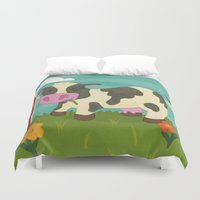 cow Duvet Covers featuring Cow by Claire Lordon