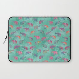 Elephants on Parade Watercolor Green Laptop Sleeve