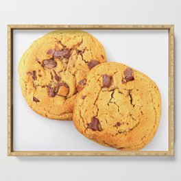 Chocolate Chips Cookies Isolated On White Serving Tray