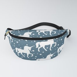 Blue Teal Unicorn and Stars Pattern Fanny Pack