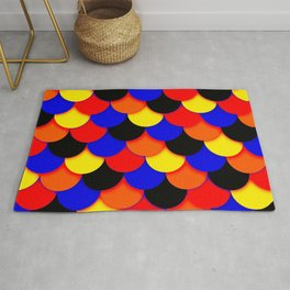 Polyamory Pride Scalloped Scales Pattern Rug